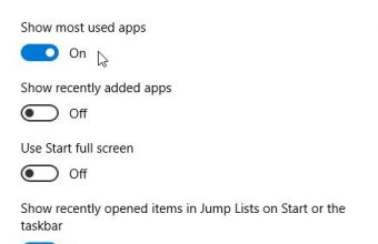 Show and Hide Most Used Apps on Windows 10