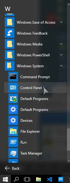 Control Panel from Windows setting PCsolutionHD.com