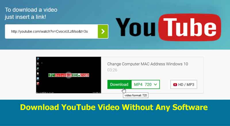 Download YouTube video without any software www.PCsolutionHD.com