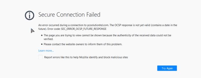 Problem loading page or Problem Secure Connection (PCsolutionHD.om)
