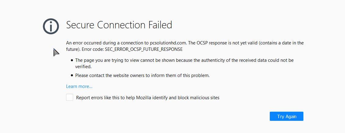 Problem loading page or Problem Secure Connection (PCsolutionHD.om)