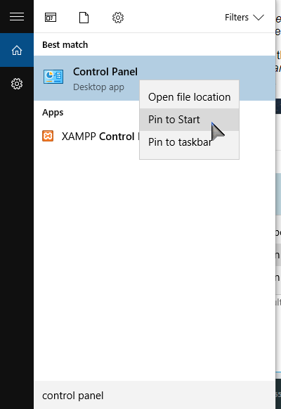 Search Control Pannel for Pin to start or taskbar