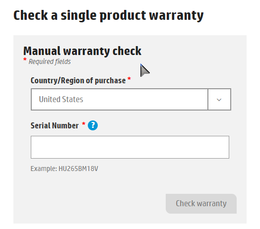 HP Product Warranty Check