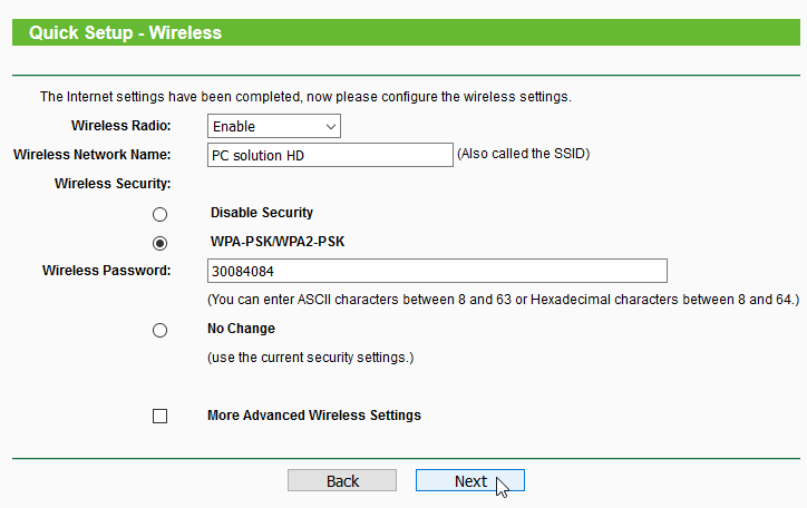 Quick Setup Wireless TP Link