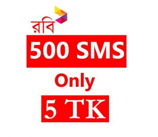 Robi 500 SMS 5 TK